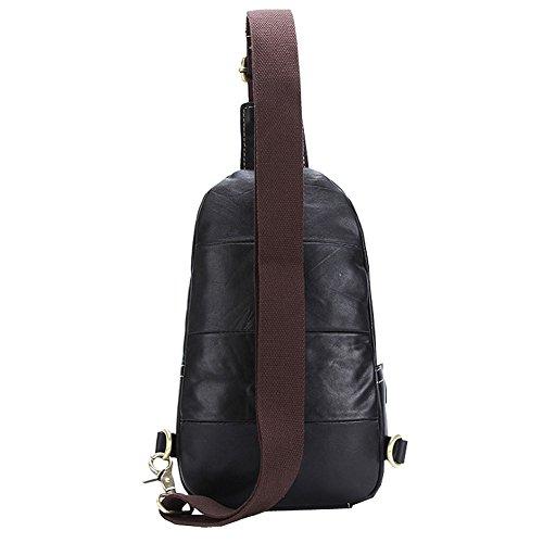 Othilar Herren schwarz klein Leder Tasche Brusttasche Schultertasche Schulrucksack