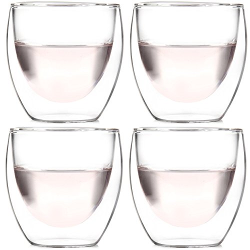 Amlong Crystal Lead Free Double Wall Glass Espresso Cups or Shot Glass 3 oz, Set of 4 With Gift Box ()