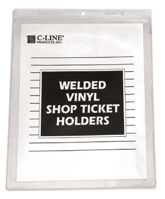 C-Line 80912 Clear Vinyl Shop Ticket Holder, Both Sides Clear, 50, 9 x 12, 50/BX 50 C-LINE PRODUCTS INC.