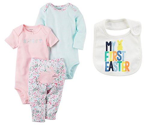 Carters Baby Girls My First Easter 3 Piece Bunny Bodysuits and Pants Character Set With Bib Set (6 Months) -