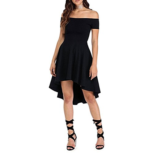 Short Black Off Dress Shoulder Ball Skater Gown Dress The Asymmetrical SYGoodBUY vEXw4fqYE