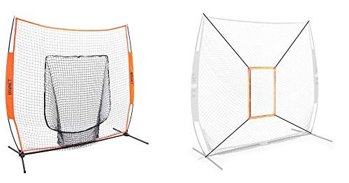 (Bownet 7' x 7' Big Mouth X - Portable Sock Net Baseball Softball Hitting Pitching (Orange(Bundle)))