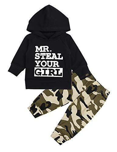 Toddler Infant Baby Boy Clothes Long Sleeve Hoodie Sweatshirt Top + Camouflage Long Pants Outfit Sets(12-18Months)