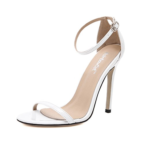 YIBLBOX Women's Ankle Strap Strappy Open Toe Stiletto Sandal Wedding Dress High Heel Buckle Shoe White G9xXwbNJi