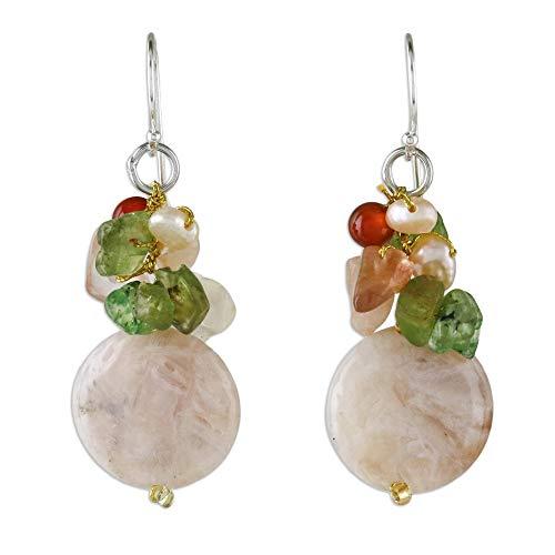 NOVICA Multi-Gem Quartz Cultured Freshwater Pearl .925 Sterling Silver Beaded Earrings, Thai Joy'