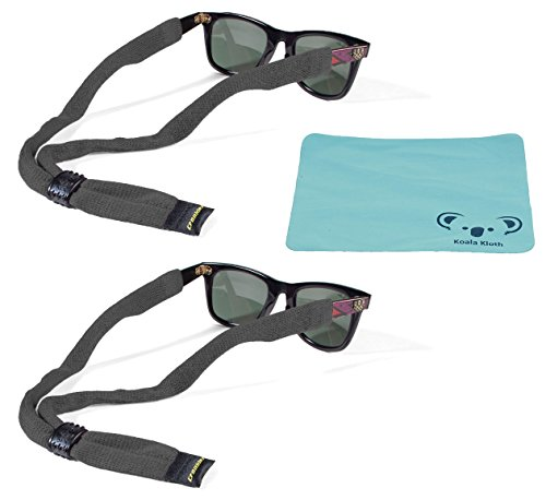 Croakies Cotton Suiters Eyewear Retainer Sunglass Strap | Adjustable Eyeglass & Sports Glasses Holder Keeper Lanyard | 2pk Bundle + Cloth, Charcoal - Croakies Straps Eyewear