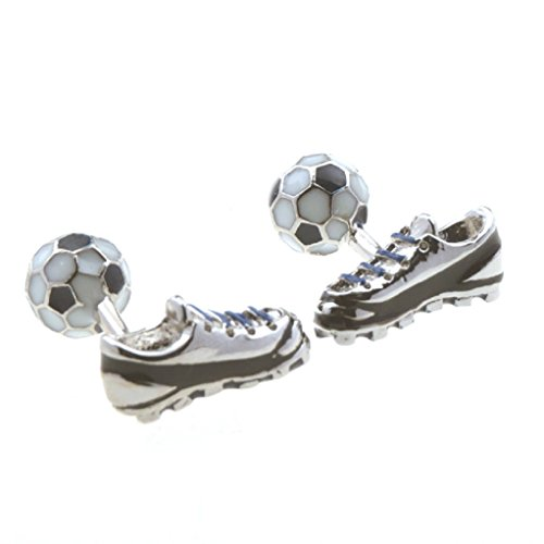 MRCUFF Soccer Ball & Cleats Shoe Pair Cufflinks in a Presentation Gift Box & Polishing Cloth from MRCUFF