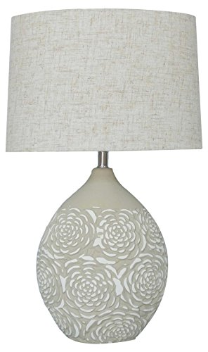 Ceramic Lamp Base - nu steel LS-355 Khaki Ceramic Table Lamp Gry Floral Textured/ White Base with Linen Shade 10in,