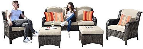 Allwex Patio Furniture,Outdoor Furniture Set,Outdoor Rattan Furniture Brown