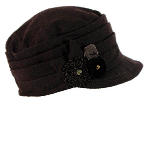 Nine West Pleated Worker's Cap with Flower - Brown