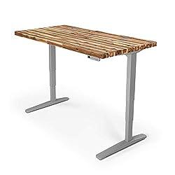 Uplift Desk V2 Acacia Solid Wood Desktop, Height Adjustable Frame (gray), Adv. Memory Keypad & Wire Grommets (gray), Bamboo Motion X Board (42 X 30)