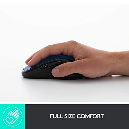 Logitech M510 Wireless Computer Mouse – Comfortable Shape with USB Unifying Receiver, with Back/Forward Buttons and Side-to-Side Scrolling, Blue