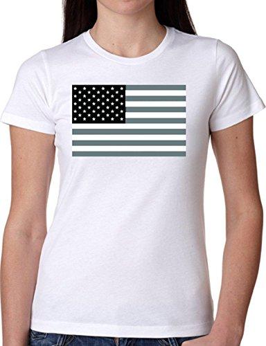 T SHIRT JODE GIRL GGG27 Z0503 AMERICAN FLAG STAR STRIPES VINTAGE USA FUNNY FASHION COOL BIANCA - WHITE XL