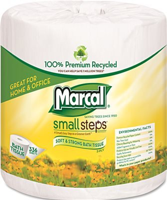 - Marcal Small Steps Recycled Bath Tissue - 2 Ply - 336 Sheets/Roll - 48 / Carton - White