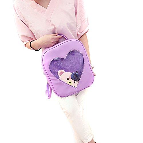 ShiningLove Summer Candy Transparent Love Heart Backpack School Shoulder Bags Teenager Girls Book Bag by ShiningLove (Image #3)