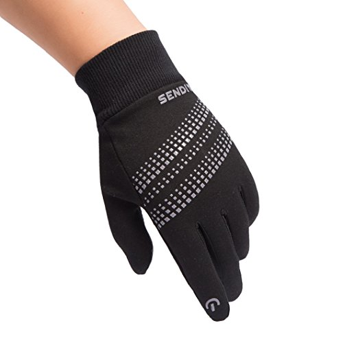 TraAcc Winter Gloves, Touch Screen Gloves Black Gel Men & Women Gloves for Cycling, Running, Climbing and Winter Outdoor Sports- Windproof and Adjustable Size (Black02, L)