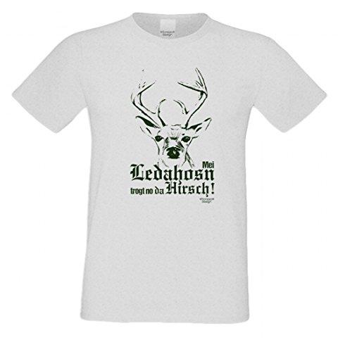T-Shirt mit Motiv - Mei Ledahosn trogt no da Hirsch - Lustiges Outfit zu Oktoberfest + Wiesn + Volksfest in Grau 2
