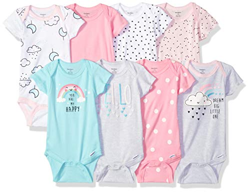 Gerber Baby Girls' 8-Pack Short-Sleeve Onesies Bodysuit, Clouds, 6-9 Months
