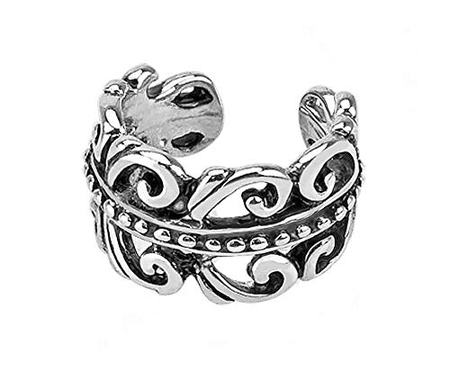 - Carved Swirls Rhodium Plated Brass Non Piercing Ear Cuff & FREE ITEMS by PIERCE ME