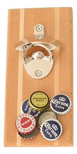 Magnetic Bottle Opener Zinc Alloy Mirror Finish with | Cap Catcher | Wall Mounted | Refrigerator Magnet