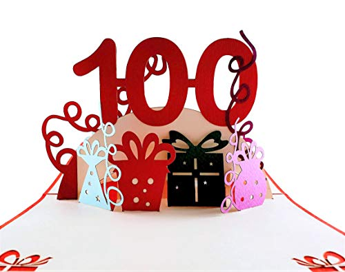 iGifts And Cards Happy 100th Birthday With Lots of Presents 3D Pop Up Greeting Card - Awesome, Cute, Fun, Unique, Special Occasion, Half-Fold, Celebration, Husband, Wife, Best Friend, ()
