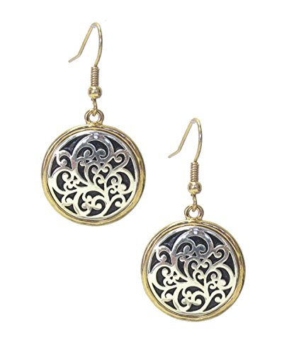 Icon Nouveau Look Round 2 Tone Antiqued Embossed Silver-Tone in Gold-Tone Puffy Look Dangle - Filigree Antiqued Gold Tone