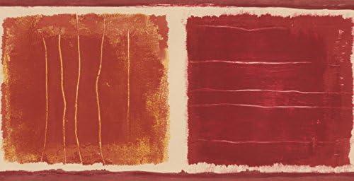 """イエローレッド抽象壁紙ペイントスクエアデザインロール15 'x 5.25 """""""