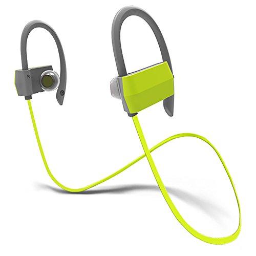 Kaleep G18 Noise Canceling Bluetooth Earhook Headphones with Mic&60 Days Warranty Wireless Sport Earbuds Headset Earclip Earphones In-ear for Running Workout Jogging Driving-Green (Reveal 60 Tablets)
