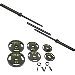 Gold\'s Gym 110-lb. Olympic Barbell Weight Set