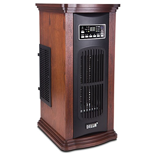 NEW Dark Brown Infrared Quartz Portable Electric Tower Space Heater with Remote, 1500 Watts Infrared Heaters Space Heaters