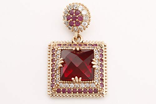 Turkish Handmade Jewelry Square Shape Ruby and Round Cut Topaz 925 Sterling Silver and Bronze Pendants