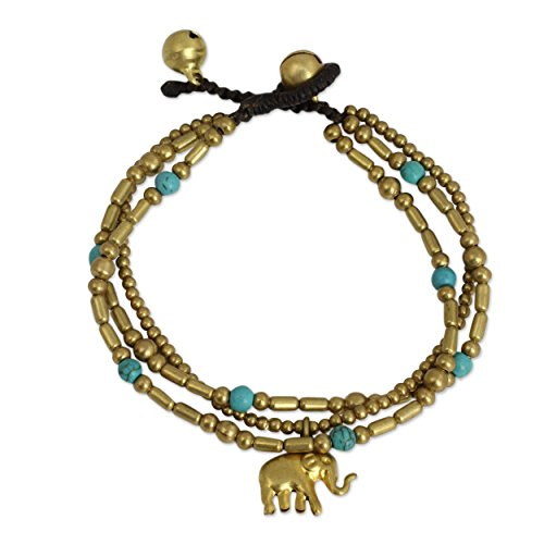 NOVICA Blue Calcite Brass Beaded Bracelet, 7
