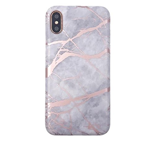 White and Rose Gold Chrome Marble Phone Case Protective TPU for NEW IPHONE X by CASESALAMODE (Rose Chrome)