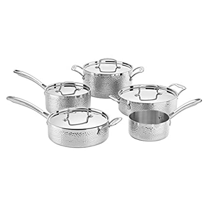 Image of Cuisinart HTP-9 Hammered Collection Cookware Set, Medium, Stainless Steel Home and Kitchen