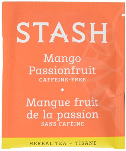 Stash Tea Mango Passionfruit Herbal Tea 100 Count Box of Tea Bags in Foil (packaging may vary) Individual Herbal Tea Bags for Use in Teapots Mugs or Cups, Brew Hot Tea or Iced Tea (Best Fruity Mixed Drink Recipes)