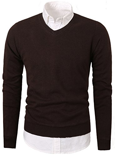 Mesahara+Mens+Slim+Fit+Light+Weight+V-Neck+Pullover+Sweater+%28M%2C+Brown%29