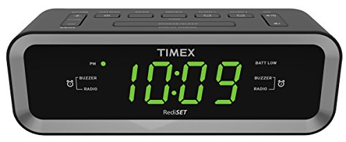 Timex T236BQX FM Dual Alarm Clock Radio with USB Mobile Device Charge Port, Black (Photo Clock Travel Alarm)
