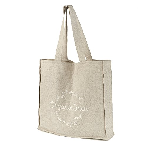 Linen Tote Handbag with Embroidery - EcoFriendly Reusable Bag for Groceries, Shopping, Beach, Travel, School and More - Grey - 16.5