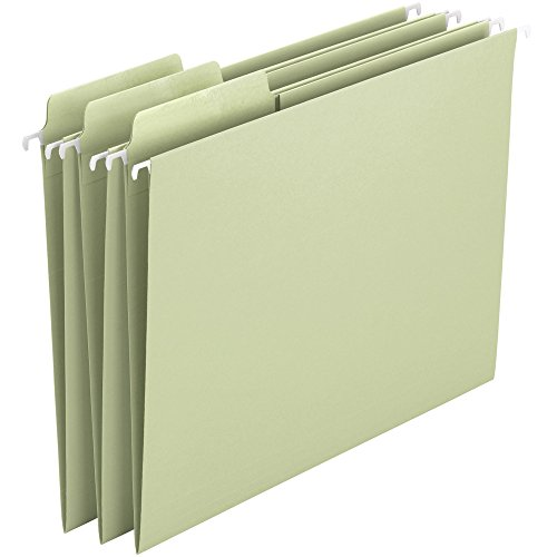 - Smead Erasable FasTab Hanging File Folder, 1/3-Cut Built-in Tab, Letter Size, Moss, 20 per Box (64032)