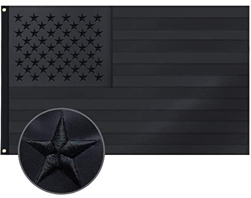 All Black American Flag 3x5 Ft US Flag, Embroidered Stars, Sewn Stripes, Brass Grommets Blackout Tactical US Black Flag, Heavy Duty USA Flags