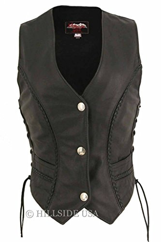 Ladies Vest Naked Leather - Hillside USA Ladies Made in USA Naked Leather Motorcycle Vest with Braid Trim Mercury Dime Snaps 6XL Tall Black