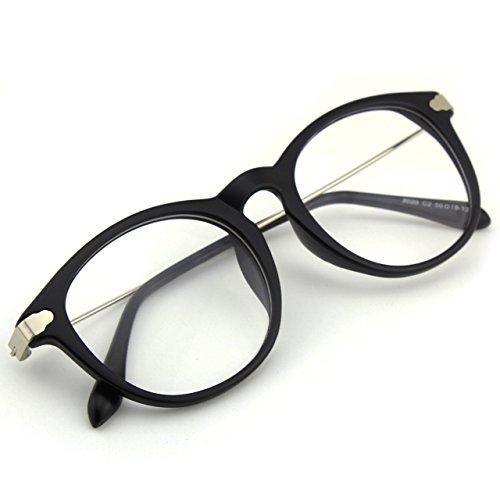 [Happy Store CN88 Fashion Keyhole Metal Temple Oval Horn Rimmed Clear Lens Glasses,Matte Black] (Cheap Nerd Glasses)