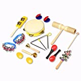 Kids Musical Instrument Toys, 15 pcs INKERSCOOP Wooden Baby Toys Rhythm Band Set with Carrying Bag for Toddlers Preschool Educational Children Boys and Girls