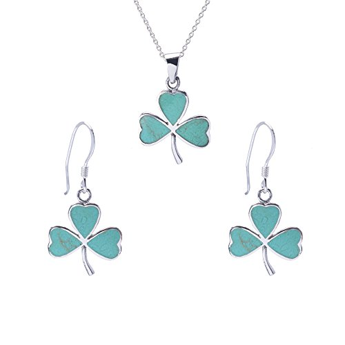 Silverly Women's .925 Sterling Silver Synthetic Turquoise Clover Dangle Earrings Necklace Set, 46 cm - Lucky Turquoise Earrings