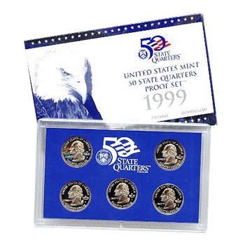 1999-S 50 STATE QUARTERS PROOF SET - 5 COINS (1999 Us Mint Quarter)