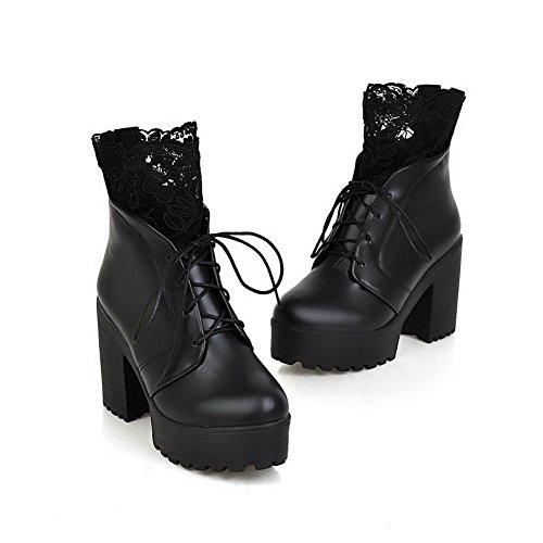 AgooLar Women's Solid PU High-Heels Zipper Round Closed Toe Boots Black KWZ0Jchc