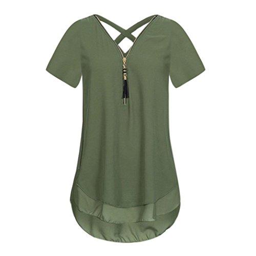 CUCUHAM Women Loose Chiffon Short Sleeve Tank V-Neck Zipper Hem Scoop T Shirts Tops(X-Large,Army Green)