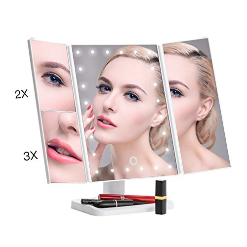 Amico Led Lighted Makeup Mirror,Portable and Compact Cosmetic Travel Mirrors,Tri-Fold Vanity Mirrors with Adjustable Stand(White dots light)