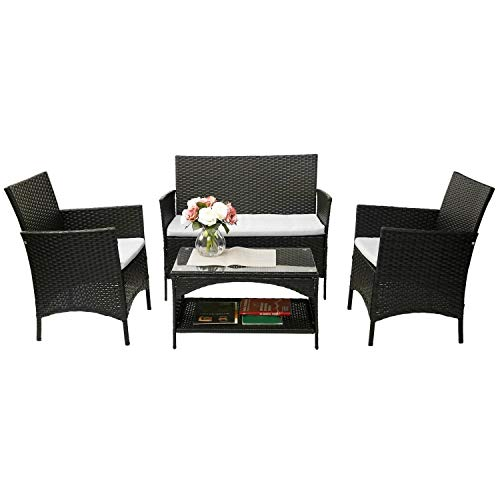 Merax 4 Piece Outdoor Patio PE Rattan Wicker Garden Lawn Sofa Seat Patio Rattan Furniture Sets