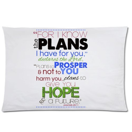 Bible Verse – Jeremiah 29:11 For I Know The Plans I Have For You Pillowcase – Pillowcase with Zipper, Pillow Protector, Best Pillow Cover – Standard Size 20×30 inches, One-sided Print